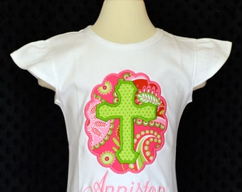 Personalized Cross Patch Applique Shirt or Onesie Girl