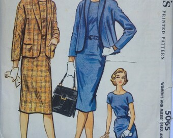 Vintage 50s pencil dress and boxy jacket pattern - size 16, bust 36