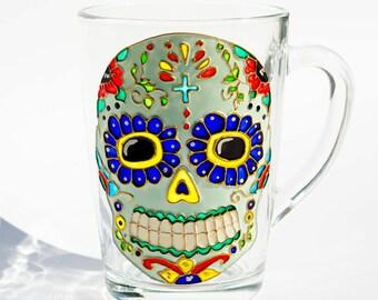 Sugar Skull Mug, Day of the Dead, Mexican Folk Art Mug, Dia de los Muertos SALE