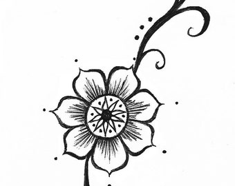 Temporary Tattoo Henna Floral Style Long Hand Drawn Illustration