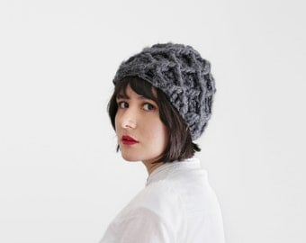 Thick Crochet Hat - Texture Beanie - Geometrical Winter Hat in Charcoal - Fall Accessories | The Triton Hat |