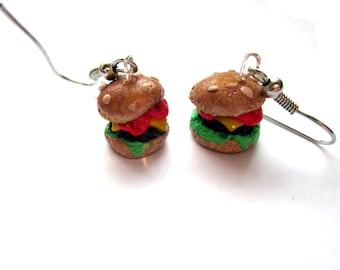 Colourful Polymer Clay Burger Earrings, Cute Fast Food Burger Jewellery