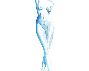 "Fine Art Print, Blue Watercolor, nude woman in heels, ""Peep Show,"" 8x10"