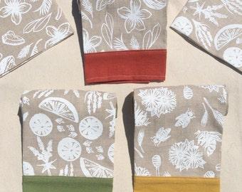 2 Hand Screen Printed, Linen, Tea Towels