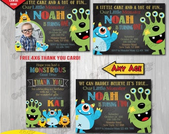 Monster Birthday Party Invitation, Chalkboard Monster Party, First Birthday Party, 1st birthday bash, Printable Party Invite, Monster Bash