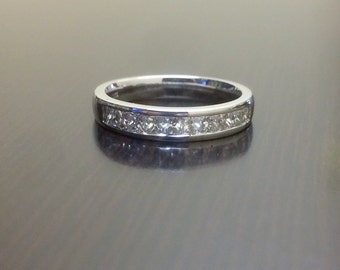 Princess Cut Diamond Engagement Band - 18K White Gold Diamond Wedding Band - 18K Gold Diamond Band - Channel Set Diamond Band - Diamond Ring