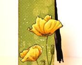 Yellow Poppy Bookmark OOAK Green Page Marker Black Tassel by MrsKristenCreations on Etsy