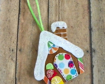 Whimsical Felt Gingerbread House Christmas Tree Ornament