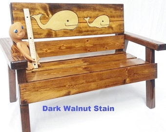 Reclaimed Wood, Kids Outdoor Patio Bench, Nautical, Beach or Coastal Decor, Childrens Furniture, Boy or Girl, Engraved Whale Folk Art Panel