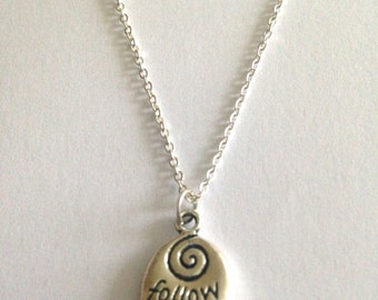 Follow Your Heart Silver Charm Pendant Necklace