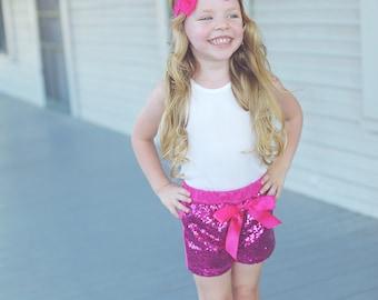 Girls Sequin Shorts - Hot Pink Glittery Sequin Shorts