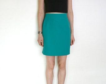 90's green pencil skirt, turquoise green high waisted skirt, teal green, mint green, mini skirt, high waisted skirt