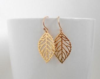 Leaf earrings - Simple Earrings, Delicate Earrings, Minimalist Earrings, Gold Earrings, Silver Earrings, Dangle Earrings, Bridesmaid Earings