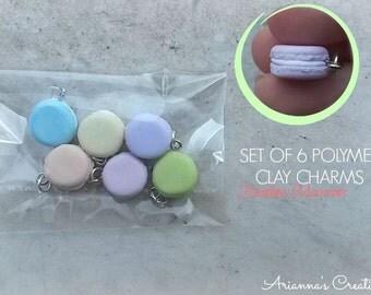 Set of 6 polymerclay charms - Rainbow Macarons