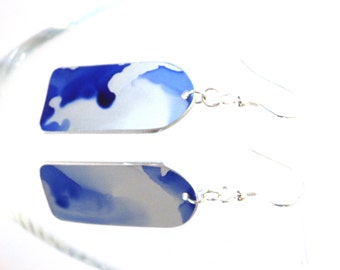 Earrings -Blue and silver coloured abstract aluminium earrings