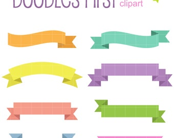 Simple Ribbon Set Digital Clip Art for Scrapbooking Card Making Cupcake Toppers Paper Crafts