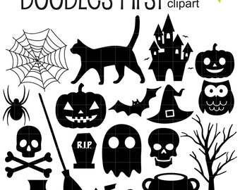 Halloween Elements Silhouette Digital Clip Art for Scrapbooking Card Making Cupcake Toppers Paper Crafts