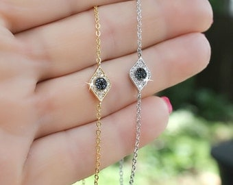 Dainty cubic zirconia silver or gold evil eye bracelet gift superstition ward off bad luck
