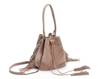Leather Bucket bag, Mini Drawstring bag, fringe bucket bag, Leather fringe bag, Sale!