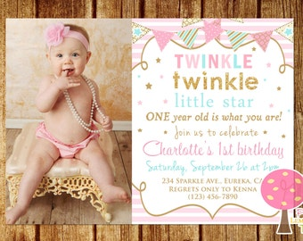 Twinkle Twinkle Little Star Birthday Invitation, Pink, Gold and Aqua Birthday Party Invitation, Gold Glitter Birthday Invitation with Photo