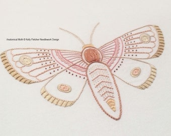 Anatomical Moth modern hand embroidery pattern - modern embroidery PDF pattern, digital download