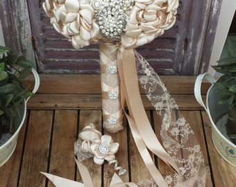 Brooches Bridal Bouquet Champagne color