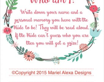 Memory Game Who Am I Bridal Shower Game Instant Download