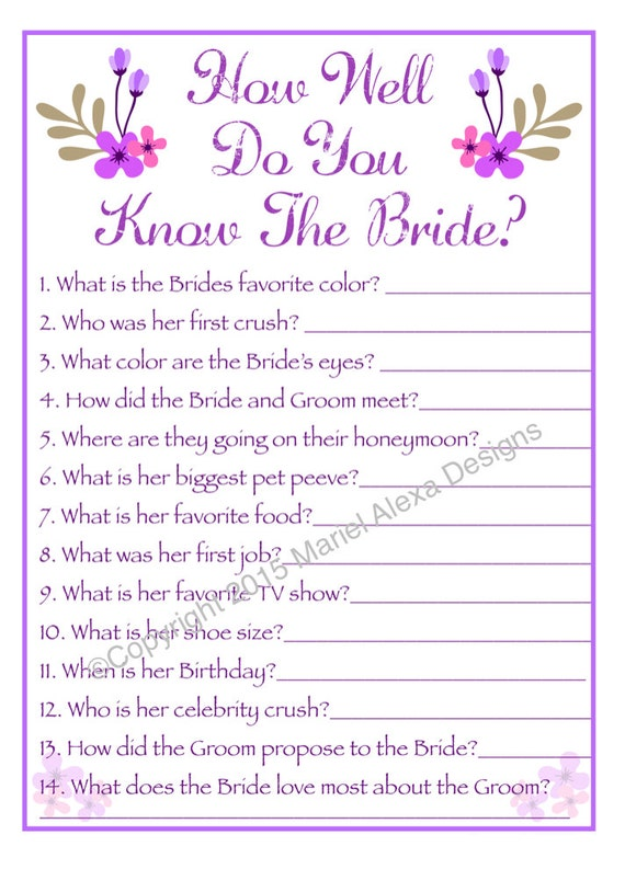 How Well Do You Know The Bride: Items Similar To Bridal Shower Game How Well Do You Know