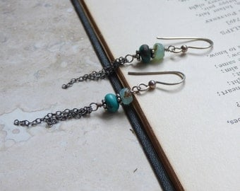 Earrings with Peruvian Opal, Turquoise and Fringe