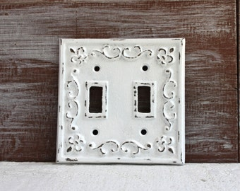 White Double Light Switch Cover, Distressed LightSwitch Plate, Double Switch Plate Cover, Cast Iron Fleur de lis, Shabby Cottage Chic
