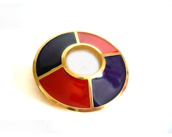 YVES SAINT LAURENT ~ Authentic Vintage Gold Plated Enamel Brooch