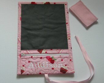 Roll Up Chalk Board-Personalized-Travel Chalkboard-Pink Cupcakes -Chalk Board Play Mat-Pocket to store chalk,eraser-Girl or Boy Gift-PlayMat