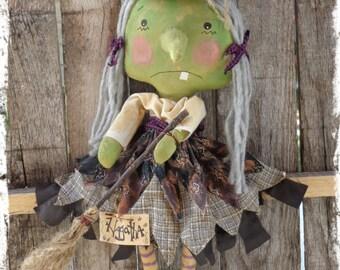 Primitive Witch Halloween Rag Doll, Folk Art Raggedy, Green Witch, Autumn Fall Decor, Door Greeter, Cupboard Sitter, OFG FAAP