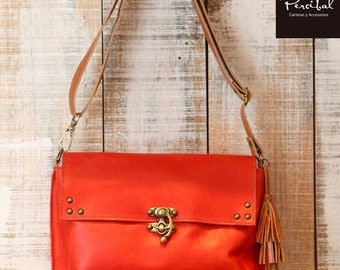 Red leather shoulder bag, red leather bags, medium size crossbody bag
