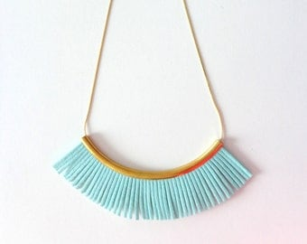 Mint fan necklace