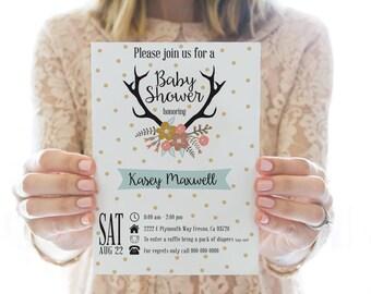 Printed OR Printable Baby Shower Invitation // Antler