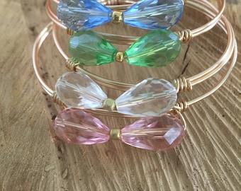 Crystal Bow Tie Wire Clasp Bracelet - QTY 1