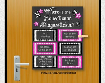 Educational Diagnostician, Back to School, Door Sign, Office Door, Office Decor, Teacher Classroom, Education Poster, Educational Poster