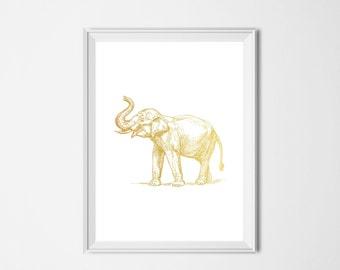 Gold Elephant Print, Animal Printable, Gold Print, INSTANT DOWNLOAD, Printable Art, Nursery Decor, Safari Print, Elephant Art, Animal Poster