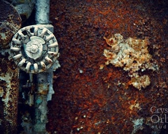 Rustic Wall Art, Urban Decay, Industrial Photography, Rust, Brown Orange, Powder Blue, Industrial Decor