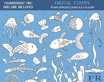 CORAL FISH - Digital Stamp Set, Brushes. 23 hand drawn images, 300 dpi. png, abr files. Instant download.