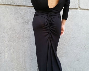Long Sleeve Maxi Dress Loose Open Back Black Dress Dolman Sleeve Extravagant Dress / EXPRESS SHIPPING / MD 10003