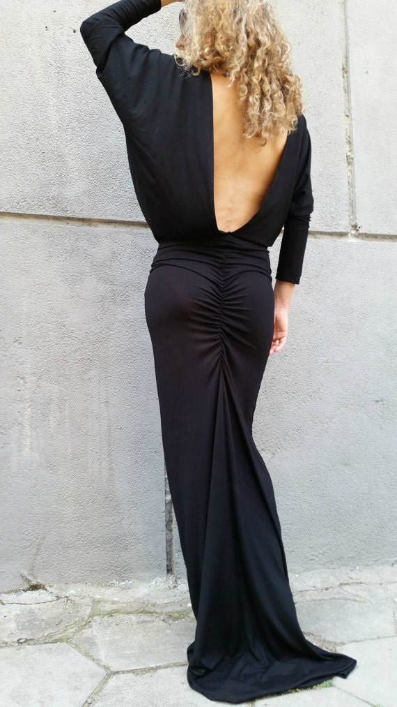 Long Sleeve Maxi Dress Loose Open Back Black Dress Dolman