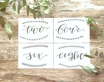 wedding table numbers / cardstock signs / hand-lettered table numbers / table markers.