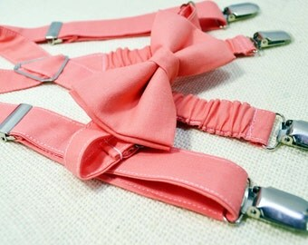 Coral bow tie and Suspender Set for baby/toddler/teen/adult