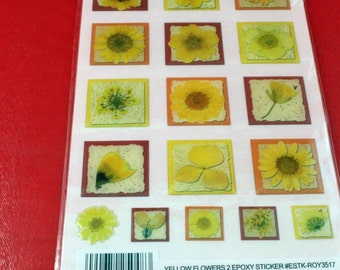 Yellow Flowers 2 Clear Epoxy 3-D Sticker Set