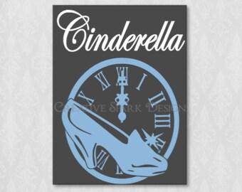 Cinderella Slipper and Clock Icon Canvas