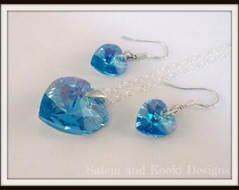 Blue Swarovski Jewellery Set, Aquamarine Heart Pendant, Aqua Blue Crystal Earrings, Blue Jewelry, Gift For Her Under 30, Valentines Present.
