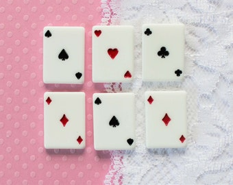 6 Pcs Suit Playing Card Cabochons - 22x16mm