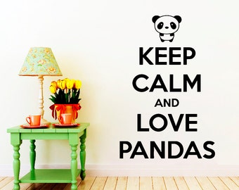 Wall Decals Keep Calm And Love Pandas Quote Decal Vinyl Sticker Home Decor Nursery Bedroom Window Decals Living Room Murals NA362